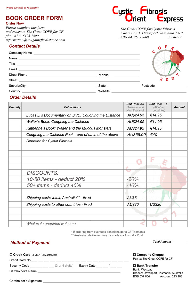 bakery order form template free